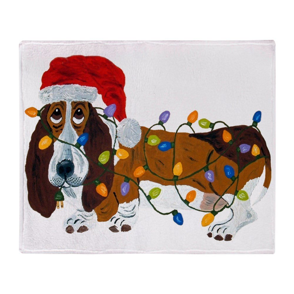 basset tangled in christmas lights soft fleece throw blanket stadium blanket sofa bed throw blanket kid adult warm blanket in blankets from home garden on