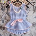 2016 Kids Girls Summer Clothes set Toddler Outfits Stripe Sleeveless Top+Shorts 2pcs Baby Girls Children Clothing 0-7Year BC1173