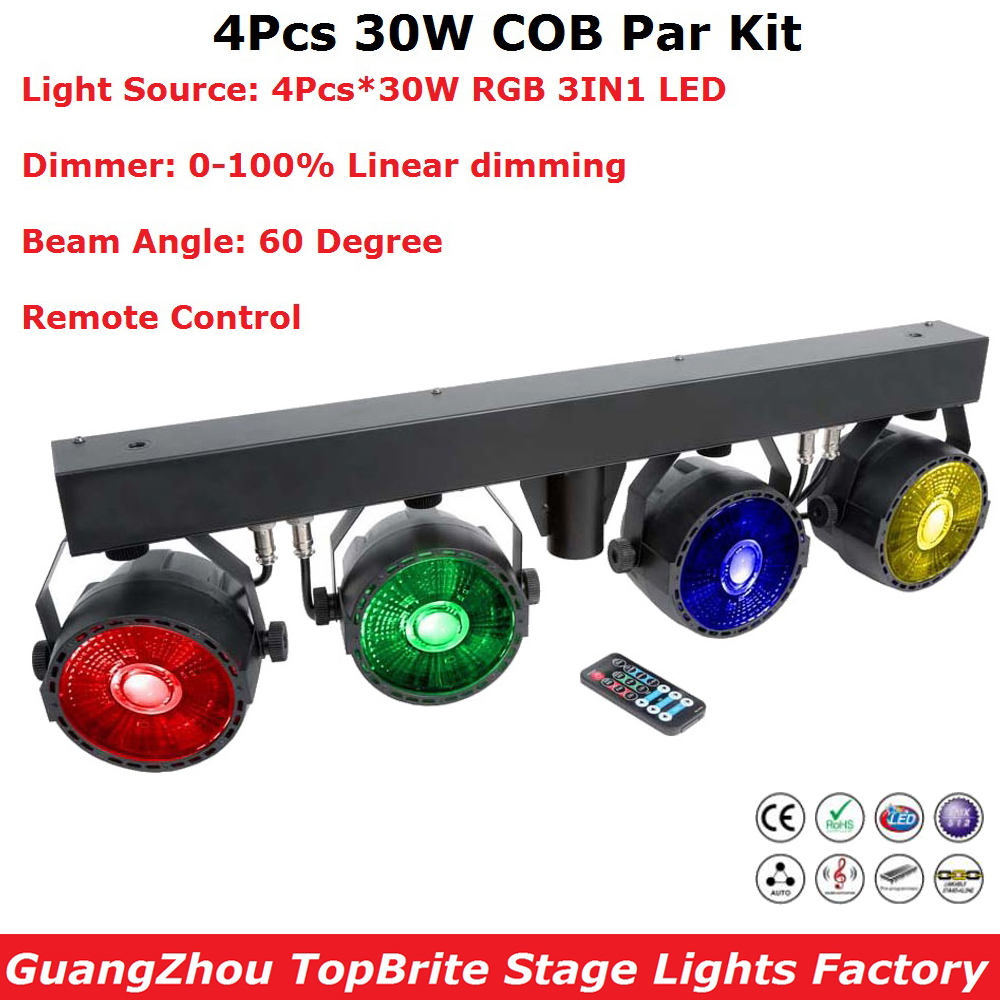 New Arrival LED Par Kits 4PcsX30W RGB Full Color LED Flat Par Lights Remote Control With Light Stand For Stage Party Wedding Dj