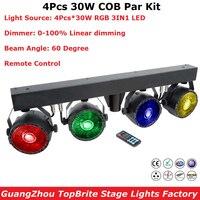 New Arrival LED Par Kits 4PcsX30W RGB Full Color LED Flat Par Lights Remote Control With