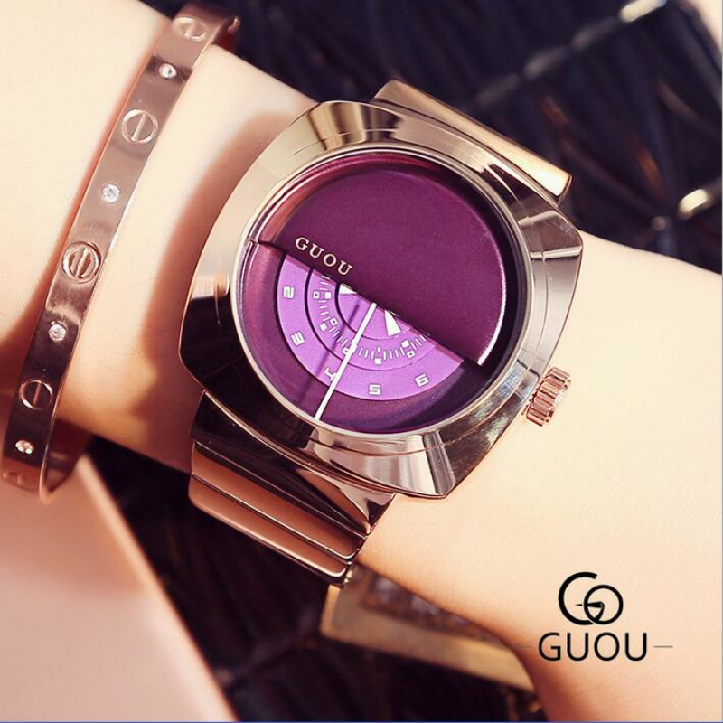 GUOU Luxury Ladies Watch Rose Gold Turntable Watch Women Stainless Steel Waterproof Wrist watches clock montre femme reloj mujer guou brand ladies watch full rose gold steel band high quality quartz wristwatches women watches saat reloj mujer montre femme