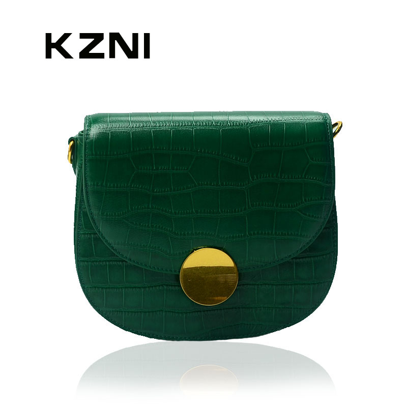 KZNI 2017 Classic Flap Bag Crocodile Women Genuine Leather Embossed Bag Women Leather Shoulder Bag with Chain Handbag Small 1390 247 classic leather