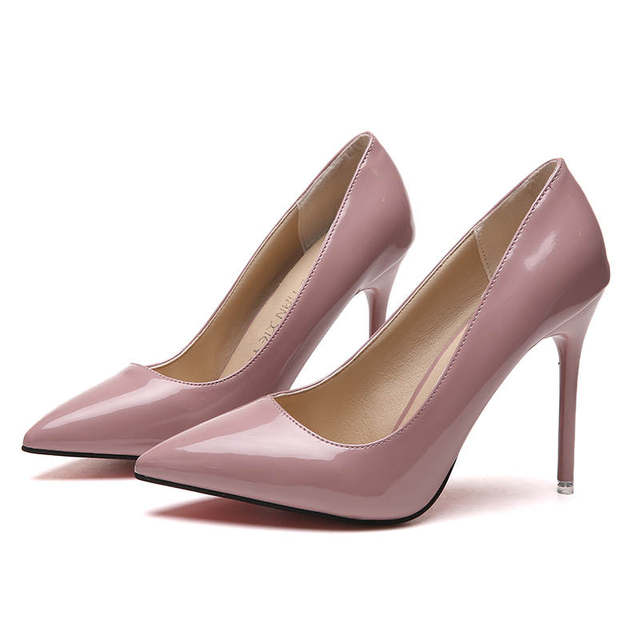 2019 HOT Women Shoes Pointed Toe Pumps Patent Leather Dress  High Heels Boat Shoes Wedding Shoes Zapatos Mujer Blue White 25