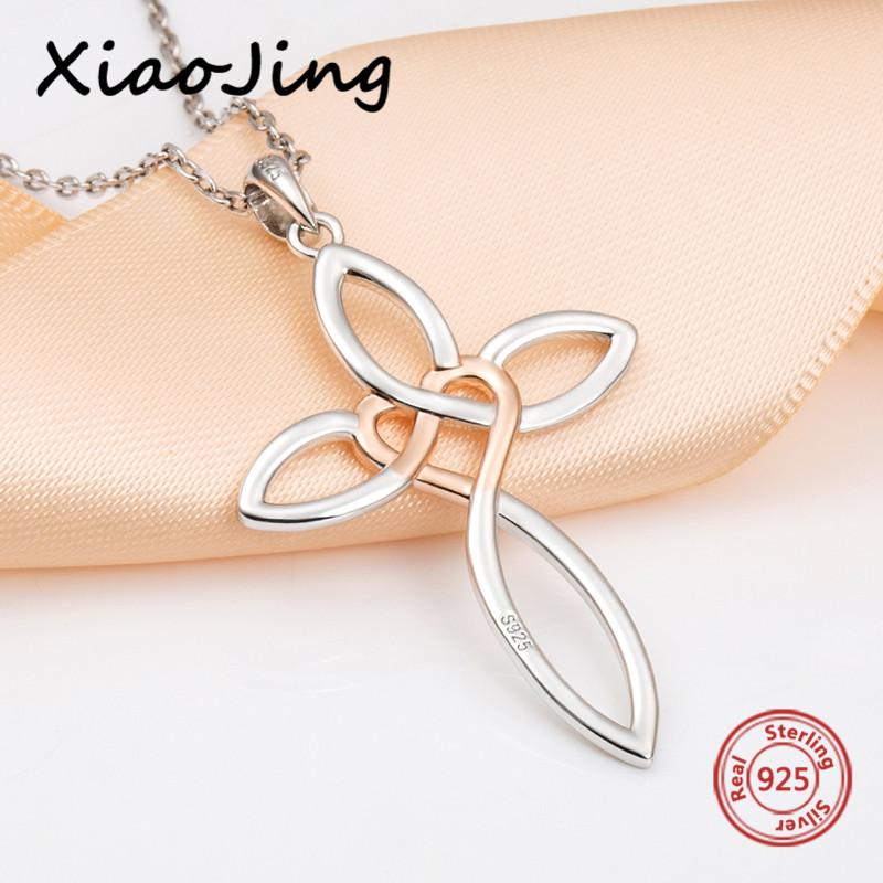 XiaoJing New arrival 925 sterling silver diy design love heart Cross pendant chain necklace fashion jewelry making women gifts in Chain Necklaces from Jewelry Accessories