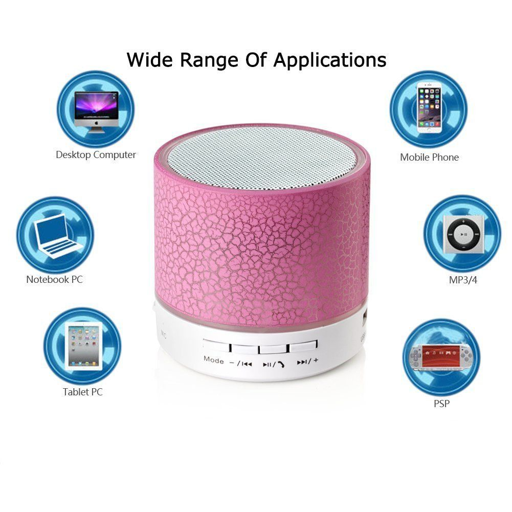 LED Mini Wireless Bluetooth Speaker A9 TF USB Portable Musical Subwoofer Loudspeakers For phone PC with Mic