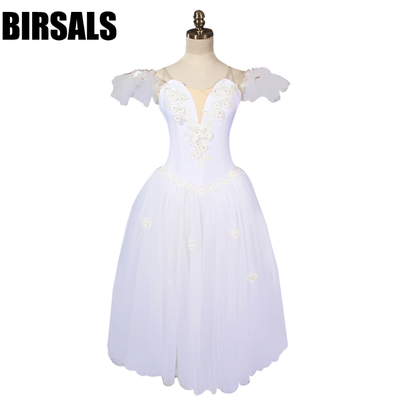 Women White Fairy Professional Ballet Long Tutu  With Wings La Sylphide Romantic Ballet Tutu Dress Ballerina DressBT8909
