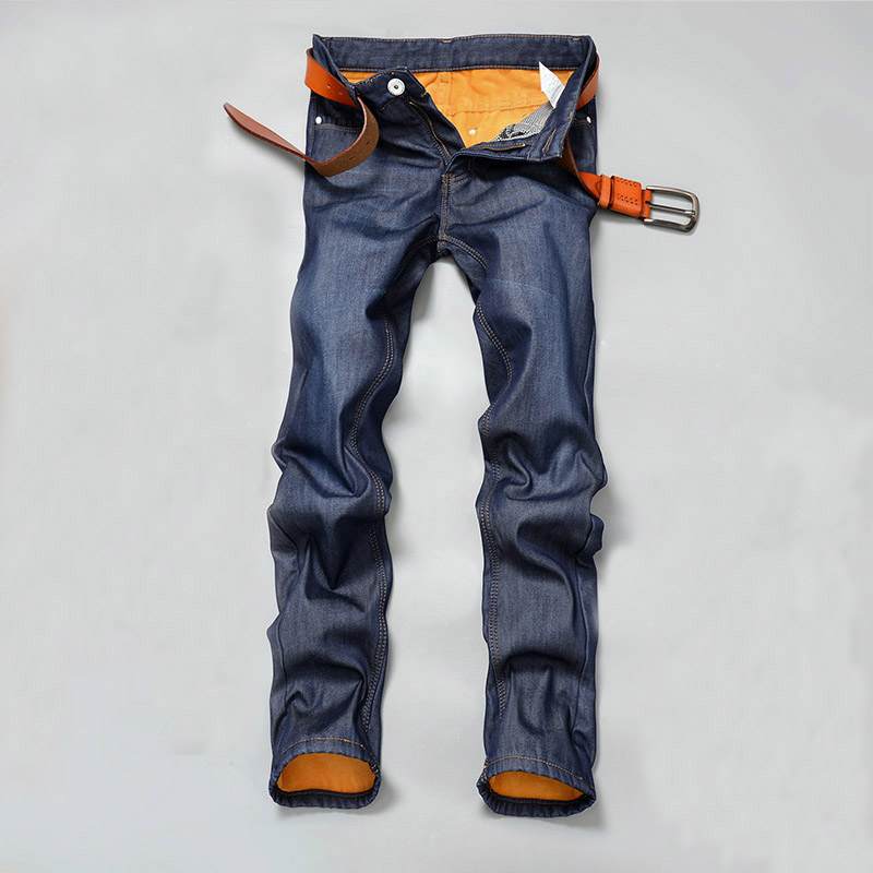 2017 Spring Autumn Winter Men Fleece Jeans Male Thermal Denim Pants Adult Full Length Warm Trousers  Size 28-38 colorful girls car stickers 2000h music rhythm led flash lamp sound activated lights 45cm 25cm