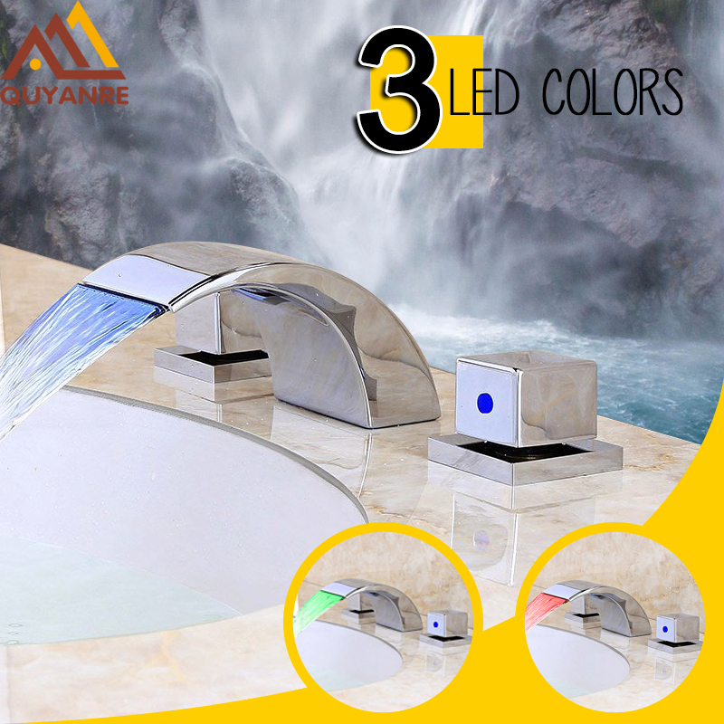 Quyanre Chrome 3pcs LED Waterfall Basin Faucet Dual Handles Mixer Tap Waterfall Spout De ...