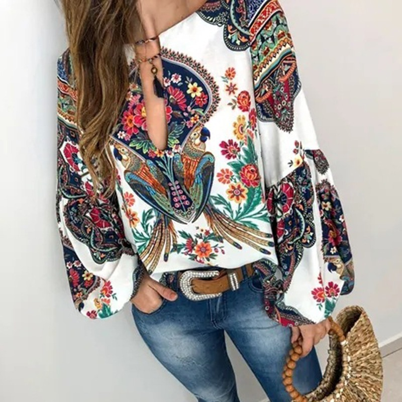 S-5XL Women Bohemian Clothing Blouse Shirt Vintage Floral Print Tops Ladies Blouses Blusa Feminina Plus size 5
