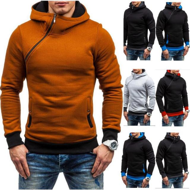 Brand 2017 Hoodie Oblique Zipper Solid Color Hoodies Men Fashion Tracksuit Male Sweatshirt Hoody Mens Purpose Tour XXXL