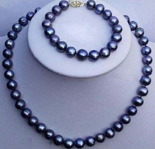 9-10mm naturel tahitien collier de perles noires bracelet ensemble 925 argent or