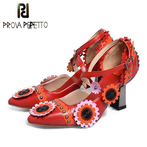 Prova Perfetto Retro Luxury Style Women Buckle Ankle Strap Pumps 3D Flower Mixed Colors Shallow Shoes Appliques Wedding ShoesProva Perfetto Retro Luxury Style Women Buckle Ankle Strap Pumps 3D Flower Mixed Colors Shallow Shoes Appliques Wedding Shoes