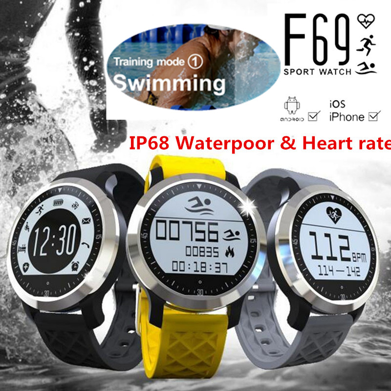 IP68 waterproof swimming smart watch F69 android and ios Heart Rate Monitor Pulsometer Watch xiaomi phones health tracker hatem alhadainy oral health and heart