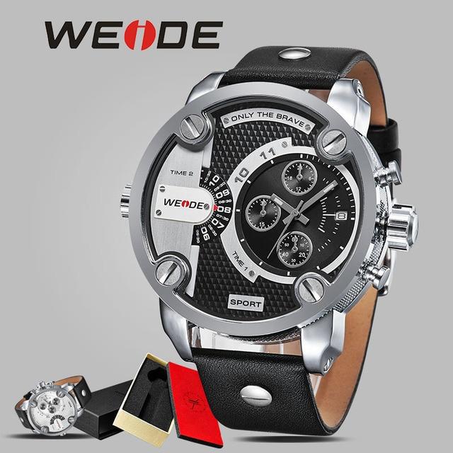 cd3216bd4e3 WEIDE homens relógio do esporte de luxo de couro relógio automático relogios  vento mão original à
