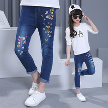 spring kids garments Girls Embroidered cowboy pants massive woman youngsters slim print flower denims informal trend model do not fade