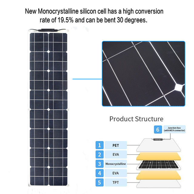 XINPUGUANG  PET flexible Solar Panel 50w 1060 solar Cell charger 12v MonocryStalline Module car Battery RV boat outdoor home kit 2