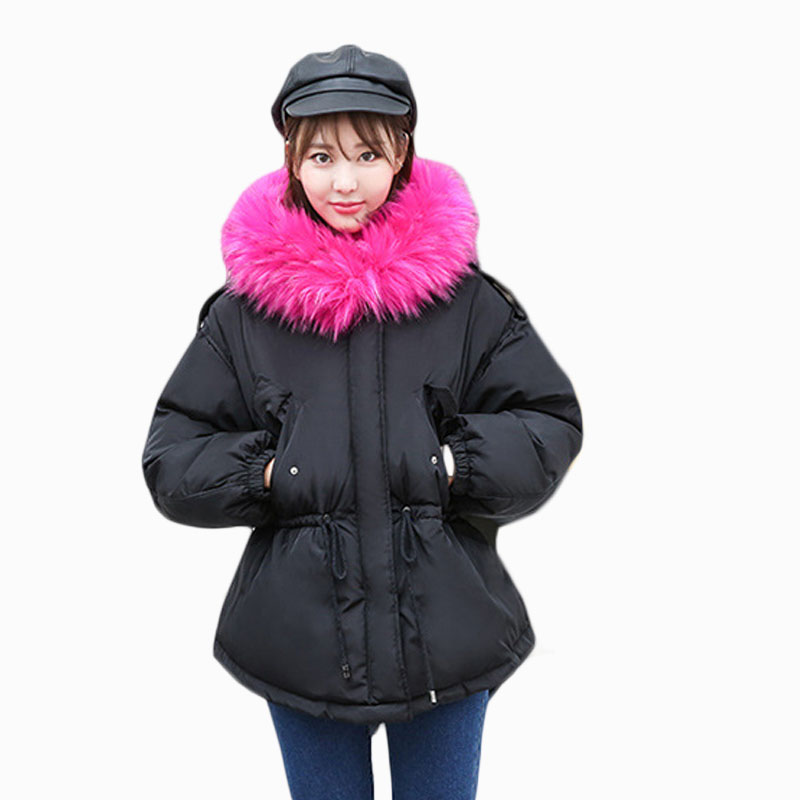 2018 NEW HOT SALE WOMEN AUTUMN WINTER JACKERS SHORT LARGE FUR COLLAR HOODED THICKEN WARM FEMALE PARKAS PLUS SIZE SLIM COAT ZL586