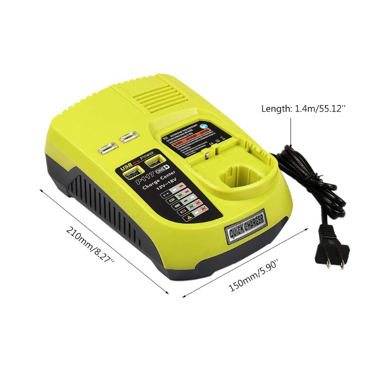 3A 12V 18V For Ryobi P117 Ni-Cd Rechargeable Battery Charger Ni-Mh Li-Ion Power Tool P108 US EU Plug