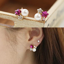 non pierced earrings imitation pearl flower clips earrings ,painless non-pierced ear clip cushion brincos boucle d'oreille