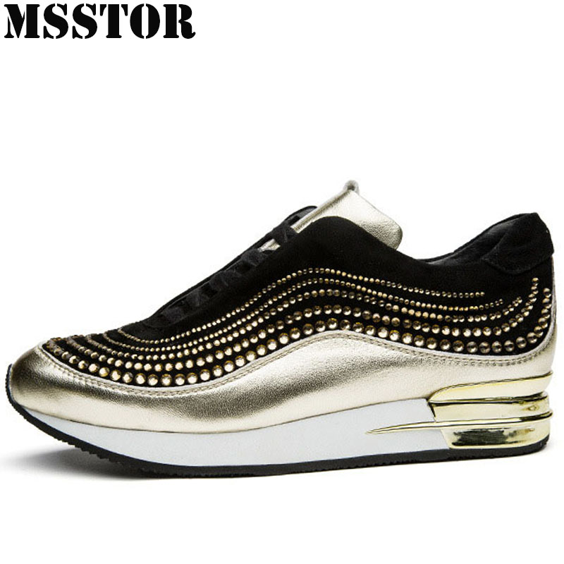 MSSTOR New Arrivals Women Running Shoes Genuine Leather Ladies Sneakers Outdoor Athletic Walking Women Sport Shoes Woman Brand msfair 2018 cow leather skateboarding shoes woman brand genuine leather women sport shoes rhinestone white sneakers for ladies