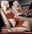 Для hyundai ix35 tucson 2016 solaris i30 акцент водонепроницаемый мозаика искусственная кожа автомобилей чехлы легко установить передние и задние сиденья