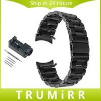 22 ملليمتر منحني نهاية الفولاذ الصلب watchband + أداة لسامسونج جير s3 الكلاسيكية الحدود الرياضة المعصم حزام ربط سوار