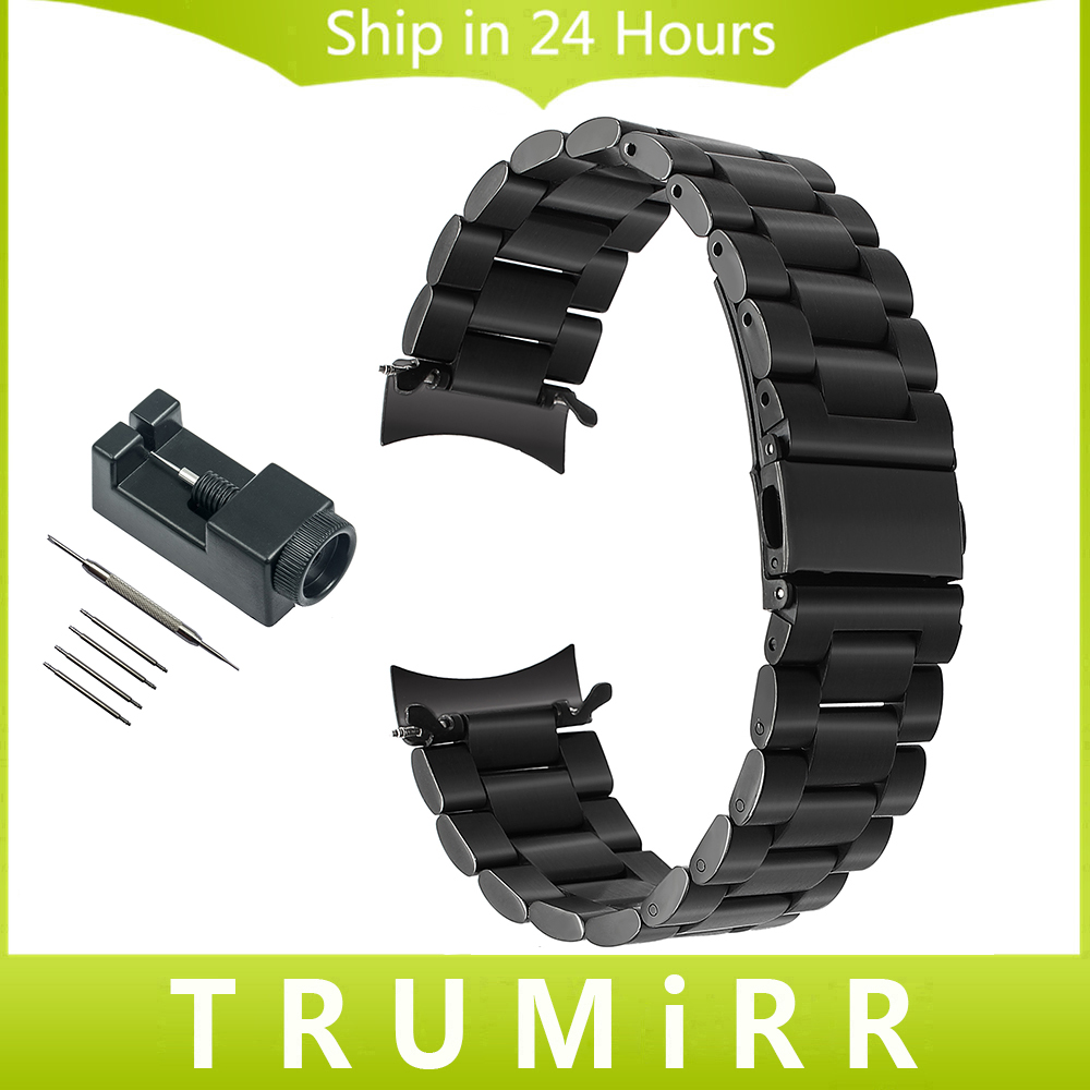22mm Curved End Stainless Steel Watchband +Tool for Samsung Gear S3 Classic Frontier Sports Watch Band Wrist Strap Link Bracelet black silver stainless steel buckle wrist watch straps for samsung gear s2 classic watchband with remover tool free