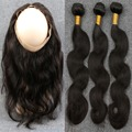 8A 360 Lace Frontal Closure With Bundles Peruvian Virgin Human Hair Body Wave Weave With Full 360 Frontal Band Natural Hairline