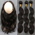 8A Melhor 360 Lace Frontal Encerramento Com 2/3 Pacotes Corpo Brasileiro onda de Renda Frontal Com Pacote Onda Do Corpo Humano de 100% Virgem cabelo
