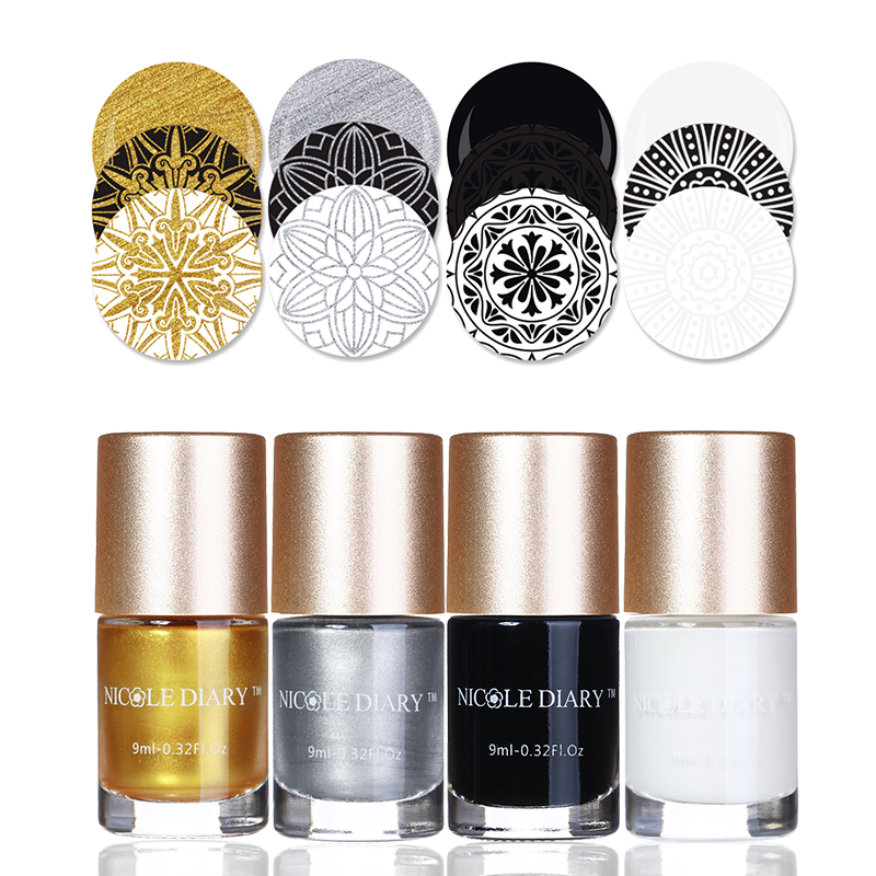 4 Bottles Red Series Stamping Polish Set 9ml Gold Silver Black White Nail Art Varnish Nail Plate Printing Polishes Kit4 Bottles Red Series Stamping Polish Set 9ml Gold Silver Black White Nail Art Varnish Nail Plate Printing Polishes Kit