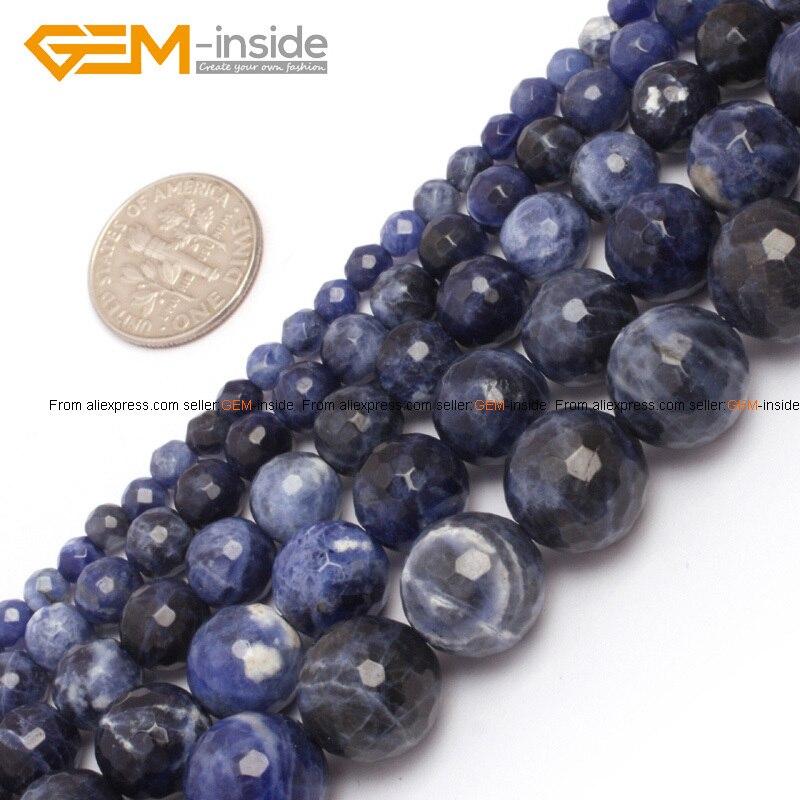 Edelstein-inside 4-12mm Naturstein Perlen Runden Facettierten Sodalith Perlen Für Schmuck Machen Perlen 15 ''DIY Perlen Schmuck Geschenk