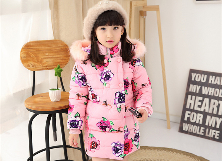 Girls Winter Jackets And Coats Warm Faux Fur Hooded Thick Cotton-padded Flower Clothes For Toddler Girls 2-7Y SY casual 2016 winter jacket for boys warm jackets coats outerwears thick hooded down cotton jackets for children boy winter parkas