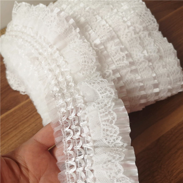 2 yards 7cm 2.75 wide ivory beads ruffled pleated fabric embroidery dress bag belt lace trim ribbon tapes T37X141N200725Y