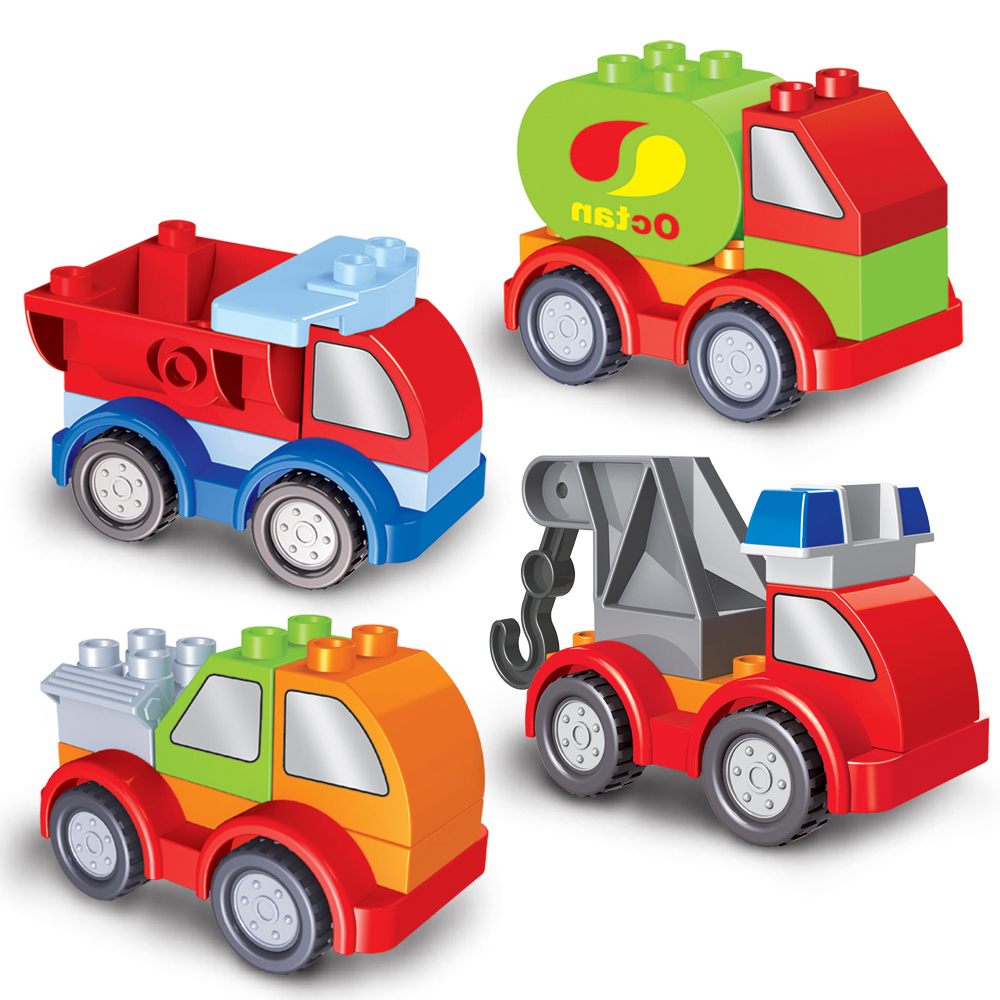 Super Vehicle Duplo Transportation Vehicle Car Building Block Educational Gift Present DTY Toys For Kid Children decool 3114 city creator 3in1 vehicle transporter building block 264pcs diy educational toys for children compatible legoe