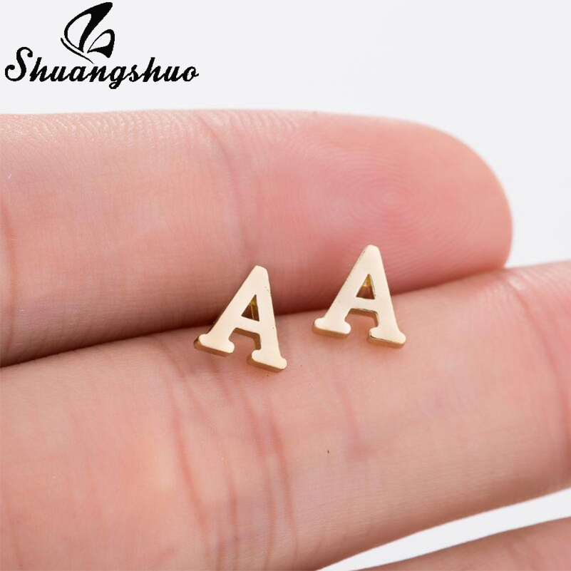 Shuangshuo A-Z Alphabet Earrings In Stud Earrings Tiny Lovely Alphabat Letter Earrings For Women Girls Kids Personalized Jewelry