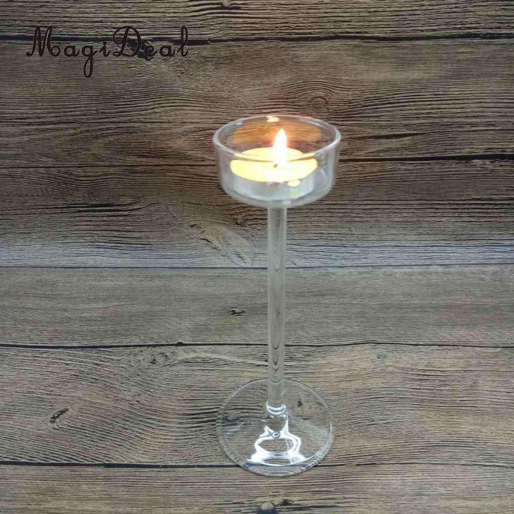 12pcs Set Clear Glass Candle Stand Tall Long Pillar Candle Holder Candlestick Wedding Banquet Table Centerpieces 11 5cm