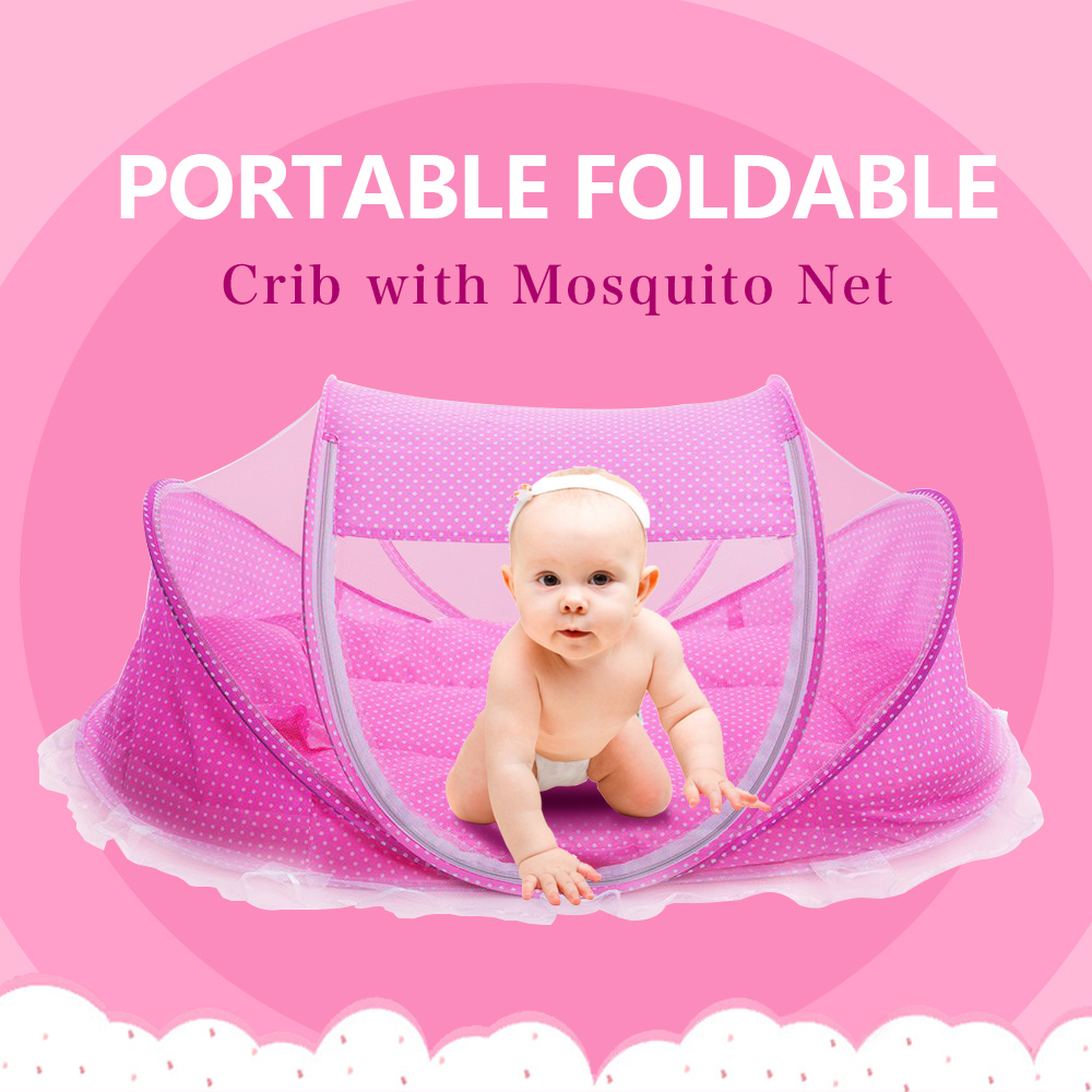 Crib pillows babies - Foldable New Baby Crib 0 3 Years Baby Bed With Pillow Mat Set Portable Folding Crib With Netting Newborn Sleep Travel Bed Newest