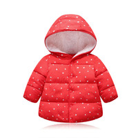 2018 New Baby Girls Jacket Kids Winter Lovely Keeping Warm Coat Children Cotton Fashion Hooded Thick Outerwear