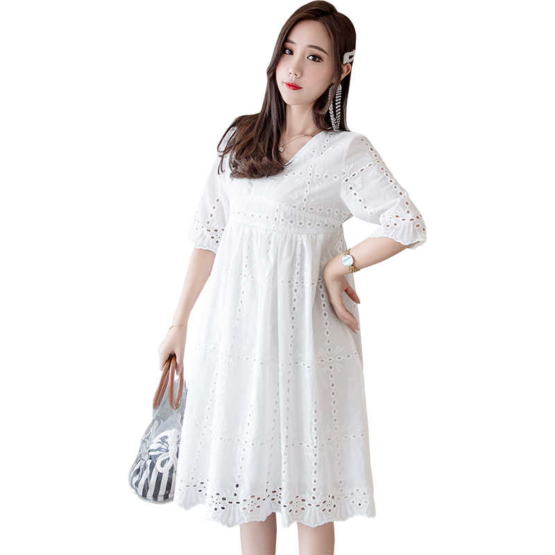 a80c84b53ec85 ... 1696# White Lace Maternity Nursing Dress V Neck Slim Waist Bodycon  Clothes for Pregnant Women