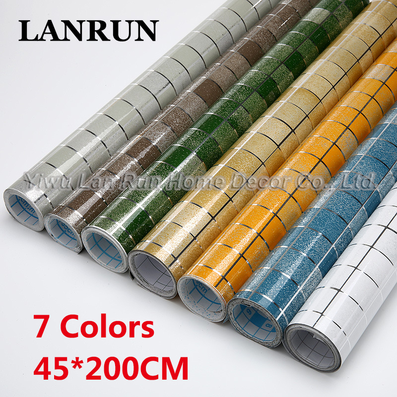 45x200cm Waterproof Mosaic Aluminum Foil Self-adhensive Anti Oil Kitchen Wallpaper Heat Resistance Wall Sticker DIY Home Decor