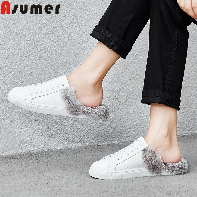 ASUMER white fashion flat shoes woman round toe shallow autumn shoes fur comfortable casual women flats genuine leather shoes asumer 2018 spring autumn casual ladies single shoes square toe shallow comfortable women genuine leather flats shoes
