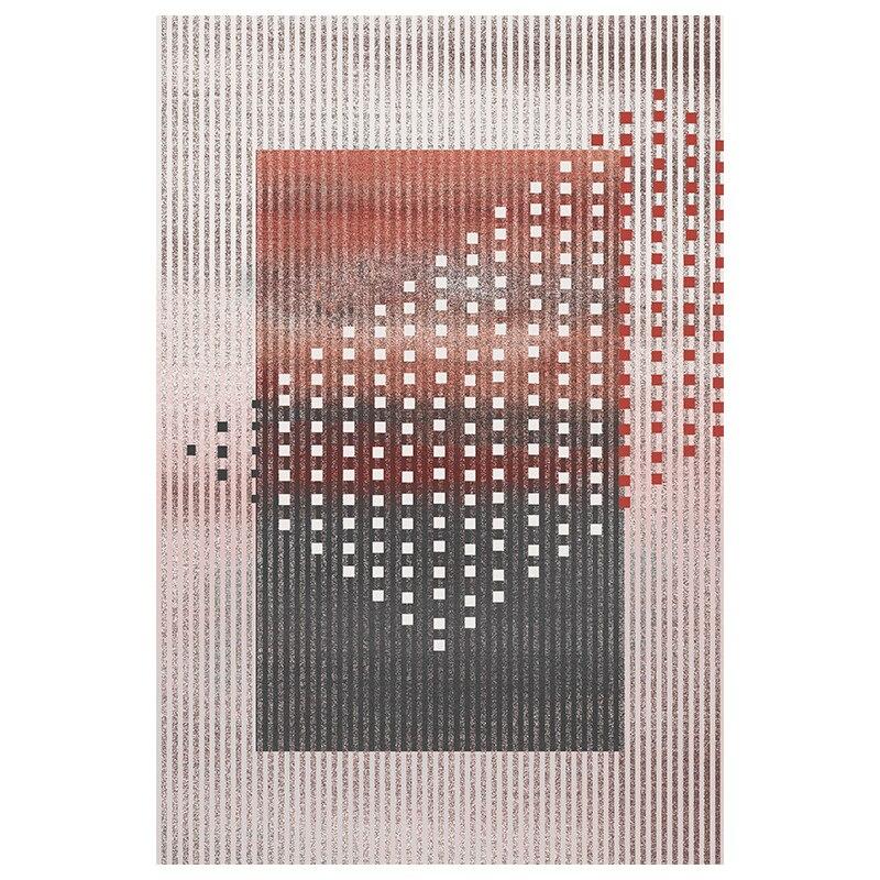 Couleur rose post-moderne bureau chambre décoration tapis style nordique grande taille chevet tapis, INS géométrique salon tapis - 5