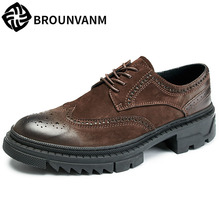 Genuine Leather retro British shoes casual men cowhide thick bottom natural leather loafers Spring summer bullock
