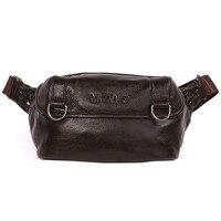 Men Genuine Leather Cowhide Vintage Bum Belt Pouch Multi purpose Riding Motorcycle Messenger Shoulder bag Chest Bag