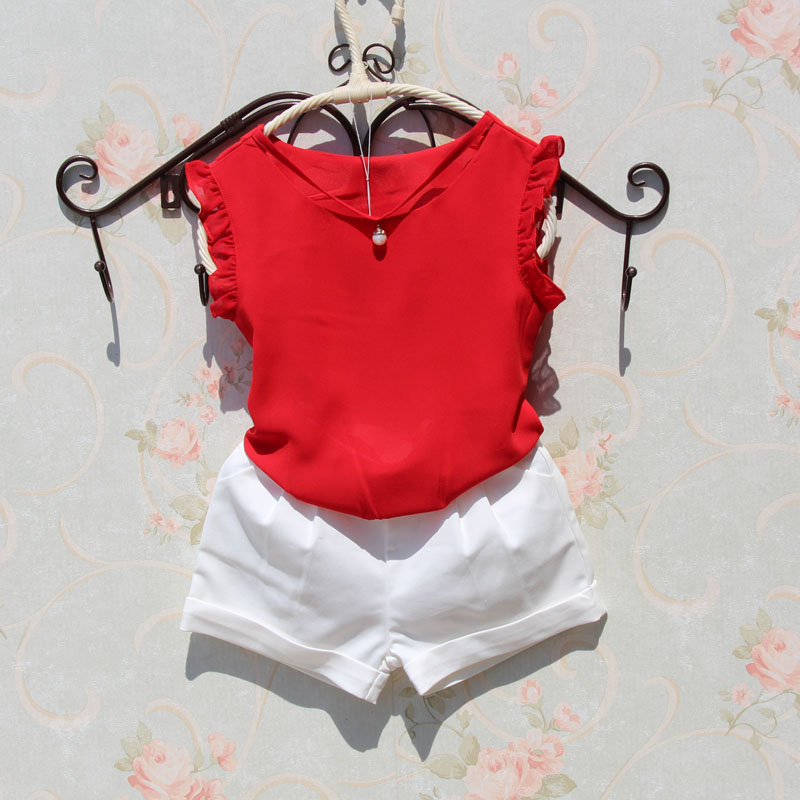 Fashion Girls Summer Chiffon Blouse 2018 Children Sleeveless Candy Color Pearl Design Clothes Teenage School Cool Ruffles Tops