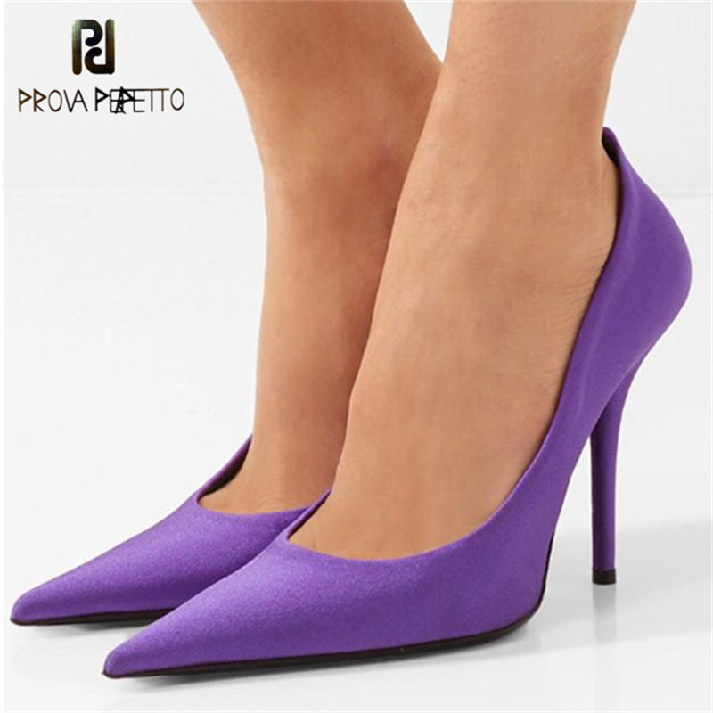 цена на Prova Perfetto New Thin High Heels Pumps Women Shoes Silk Pointed Toe Wedding Shoes Sexy High Heels Party Shoes Large Size 44