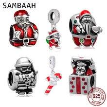 Sambaah Christmas Santa Claus Charm 925 Sterling Silver Saint Nick Beads for Original Pandora Style Christmas Gifts Bracelet цена