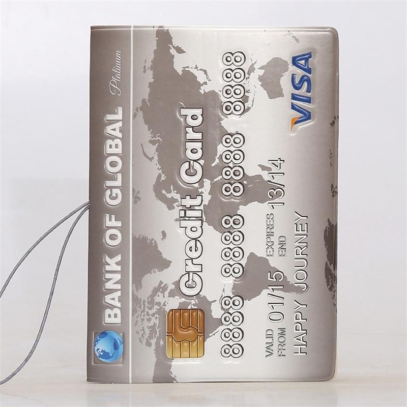 BANK OF GLOBAL!VISA Credit Card Passport Holder,3D Design PVC Leather Travel ID Card Holder Passport Cover 14*10CM