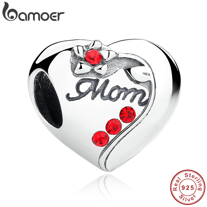 BAMOER Authentic 925 Sterling Silver MOM Red Heart Charms fit  Bracelets Mother s Day Gift SCC004BAMOER Authentic 925 Sterling Silver MOM Red Heart Charms fit  Bracelets Mother s Day Gift SCC004