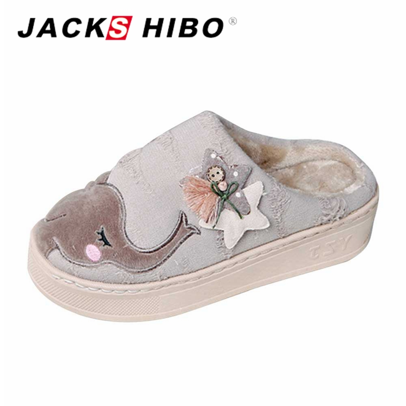 JACKSHIBO Womens Slippers Indoor Winter Faux Fur Slipper Women Warm Cartoon Home Shoes Fluffy Slippers Girls zapatillas mujer faux fur padded pinstripe warm slippers